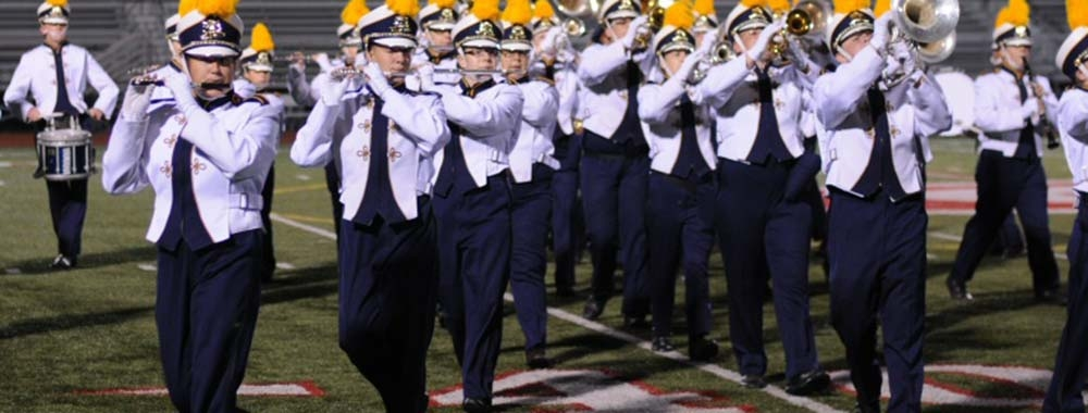 Woodwind and brass marching band students